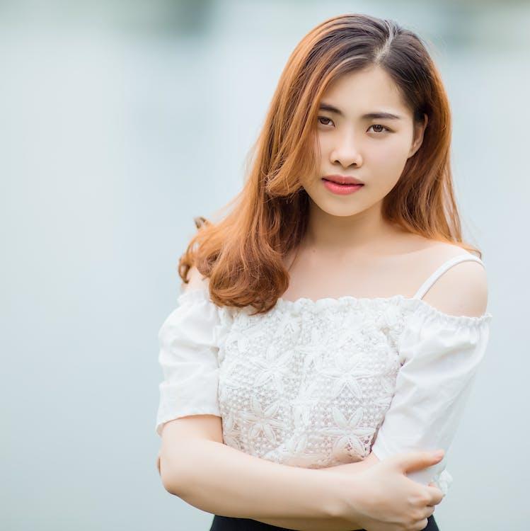 asiatisk, attraktiv, avslappning