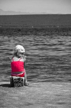 Free stock photo of sea, black-and-white, person, beach