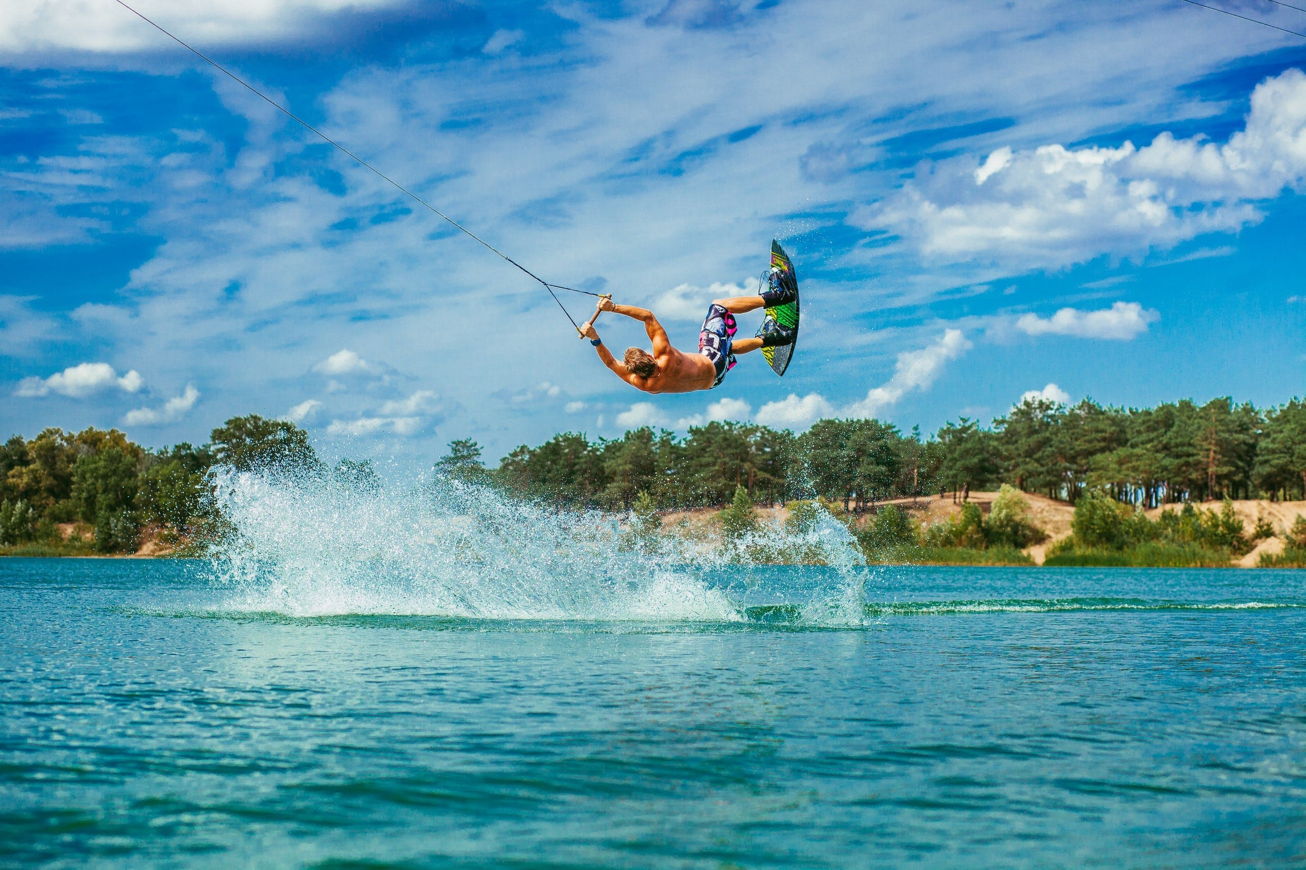 Man Doing Paragliding Activity