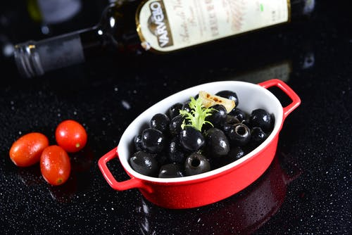 Berries on Red and White Bowl