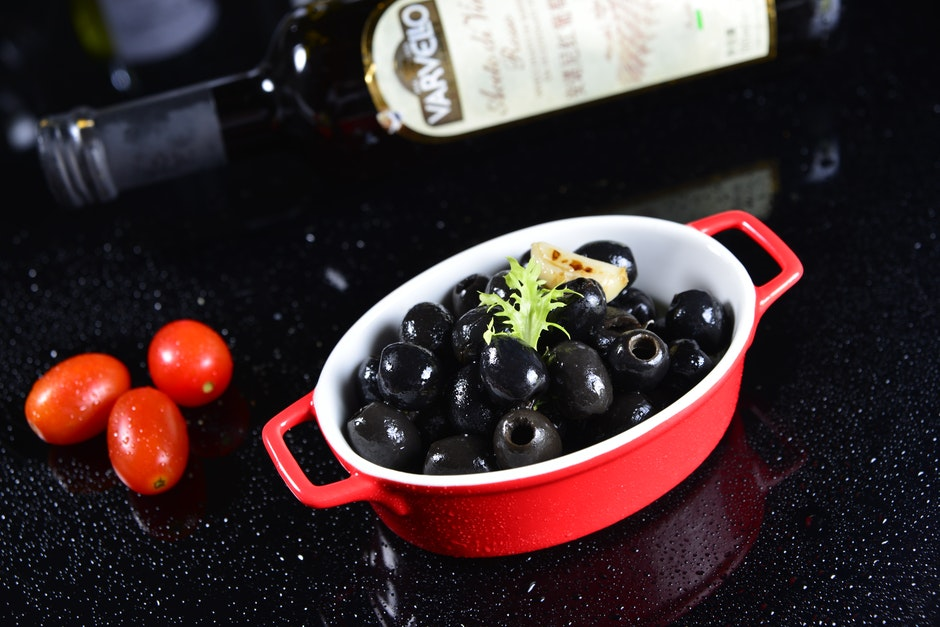 bottle, bowl, cherry tomatoes