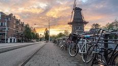 city, road, sunset