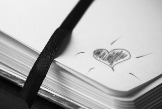 Free stock photo of black-and-white, art, heart, notebook