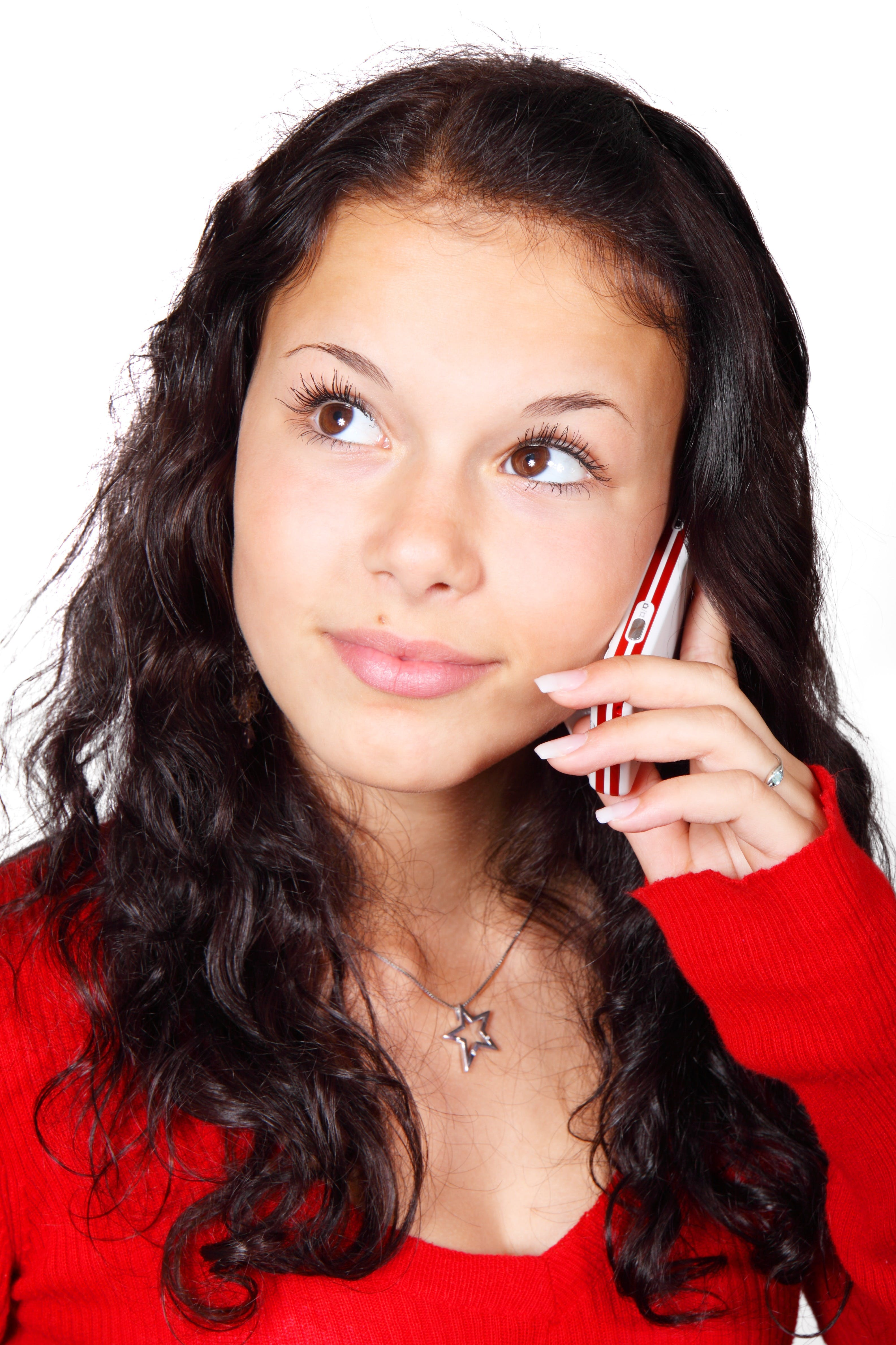 Woman Using Smartphone Wearing Red Long-sleeved Shirt