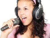 woman, music, young