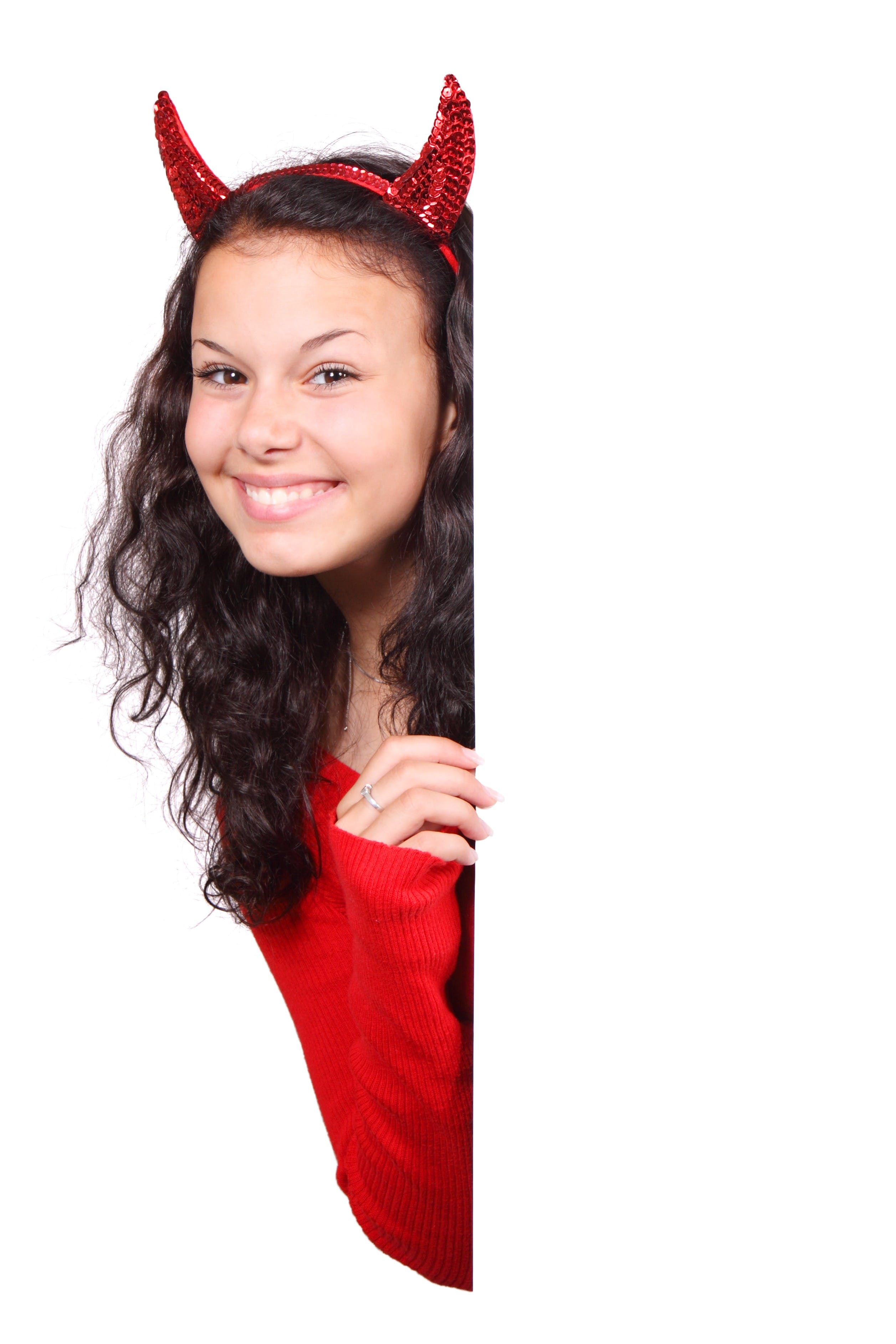 Woman in Red Costume Peeping Behind Wall