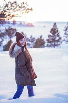 Free stock photo of cold, snow, person, woman