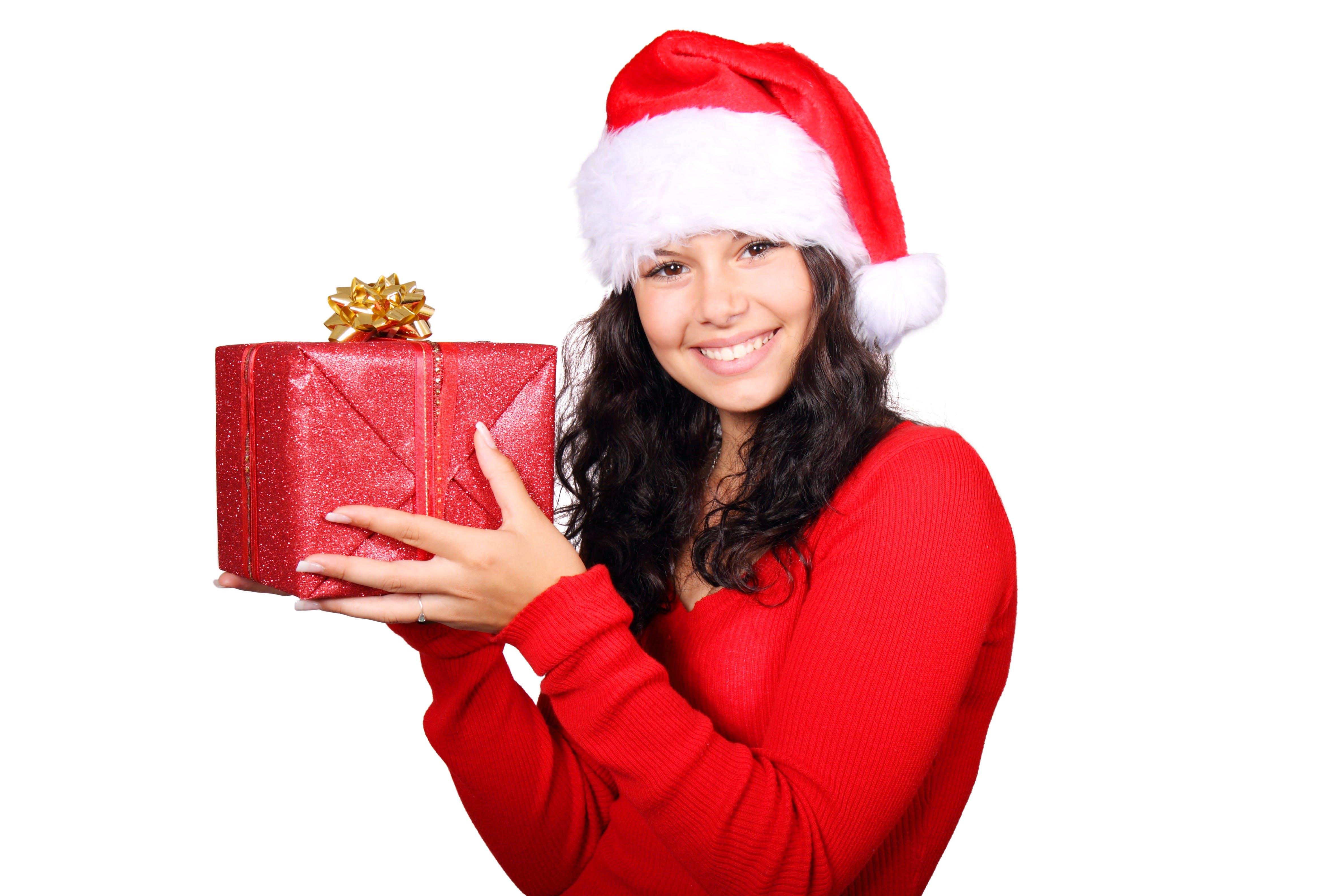 Girl Holding Red Gift Box