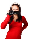 woman, female, camcorder