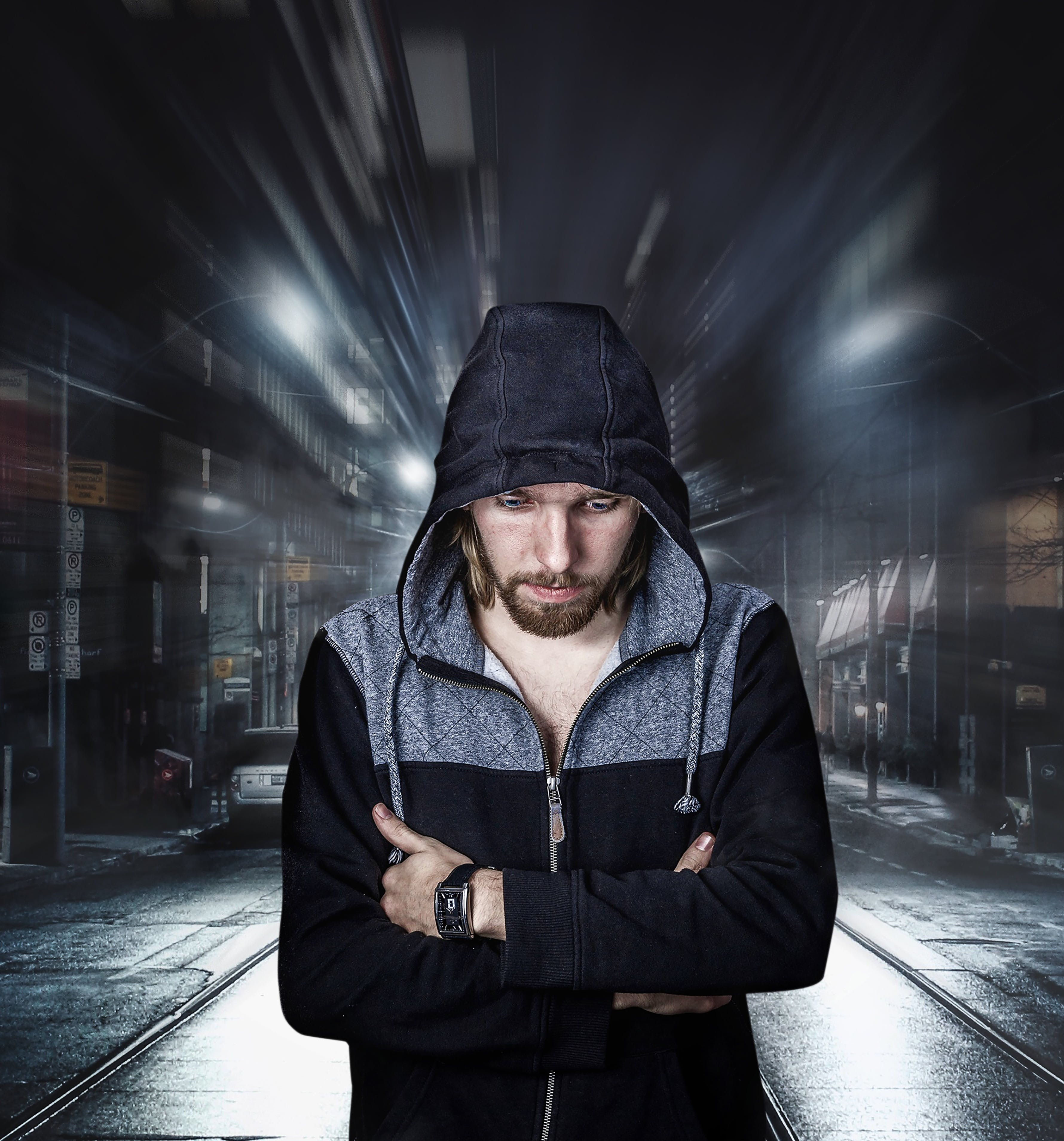 Man Wearing Black and Gray Full-zip Hoodie