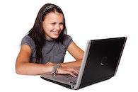 woman, laptop, model