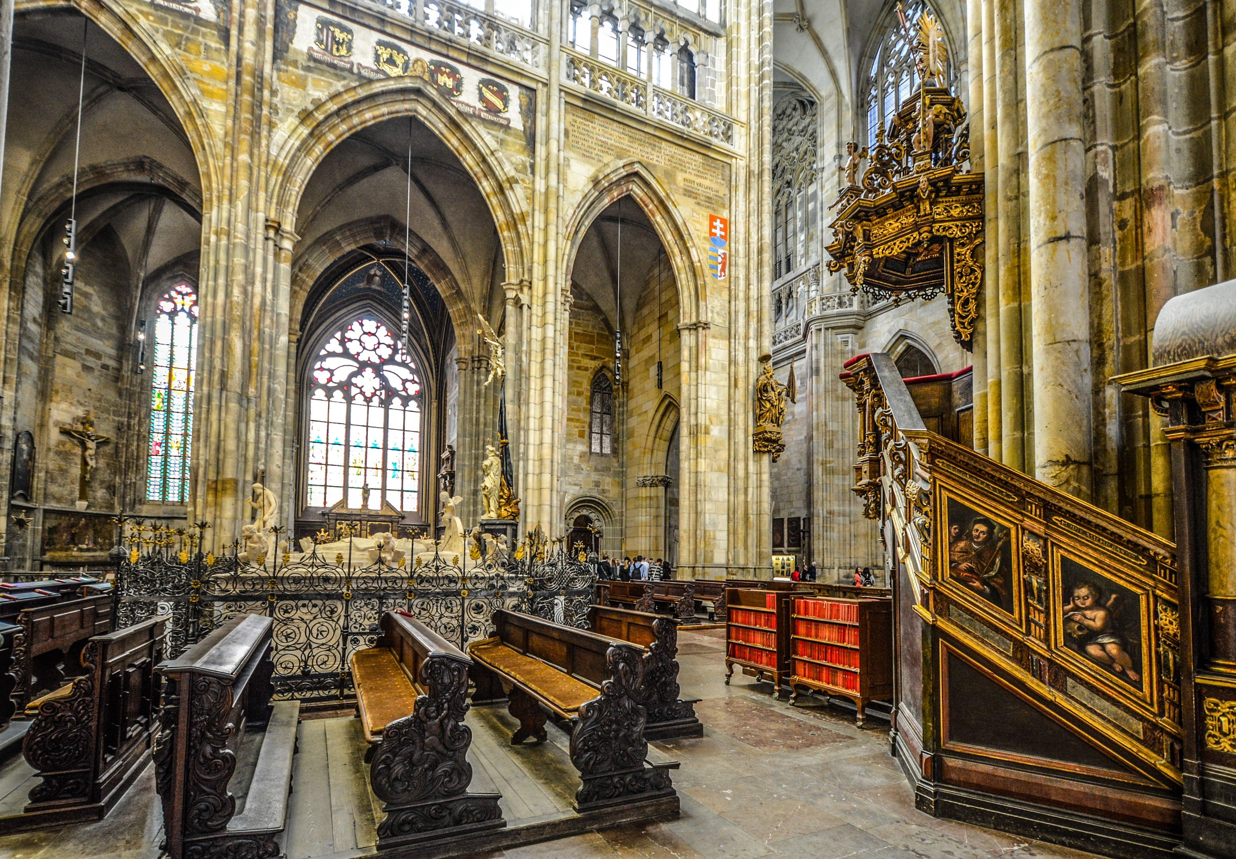 Beige Concrete Cathedral Hallway