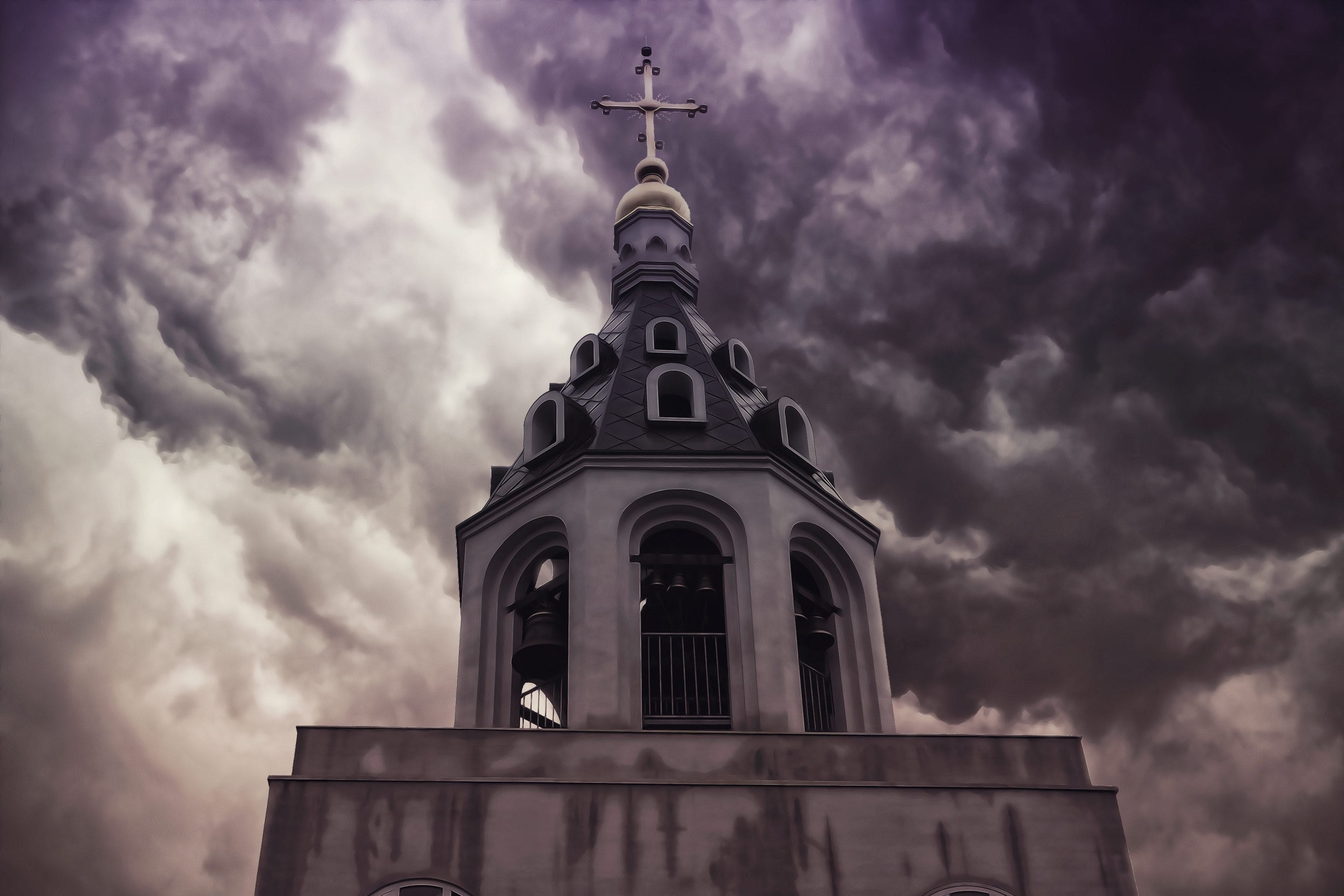 Concrete Cathedral Under Cloudy Sky