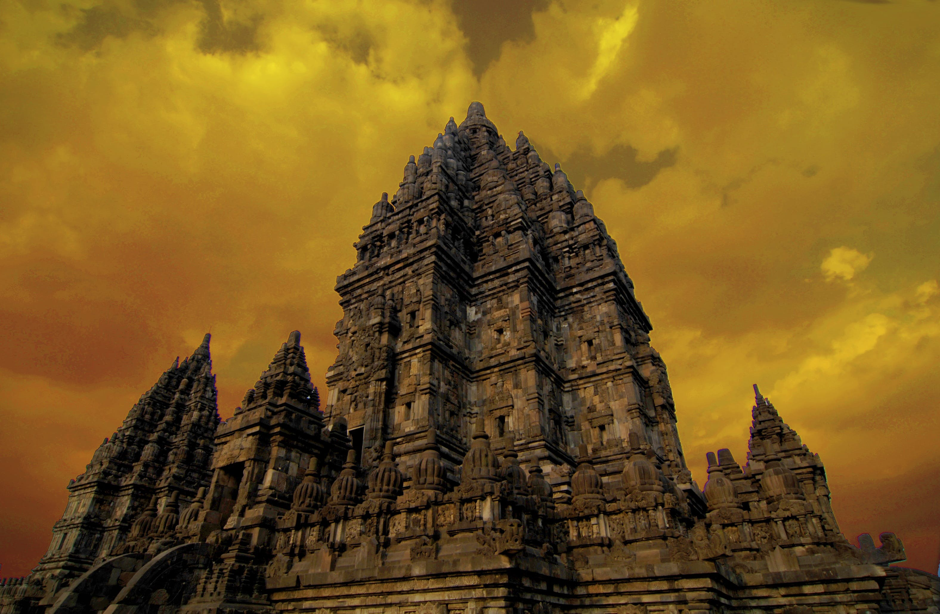 Low Angle View of Ankor Wat