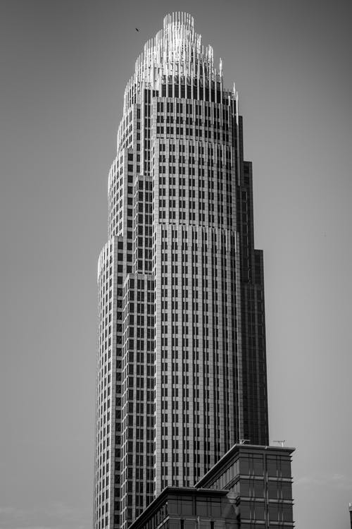 Modern tall office skyscraper in downtown