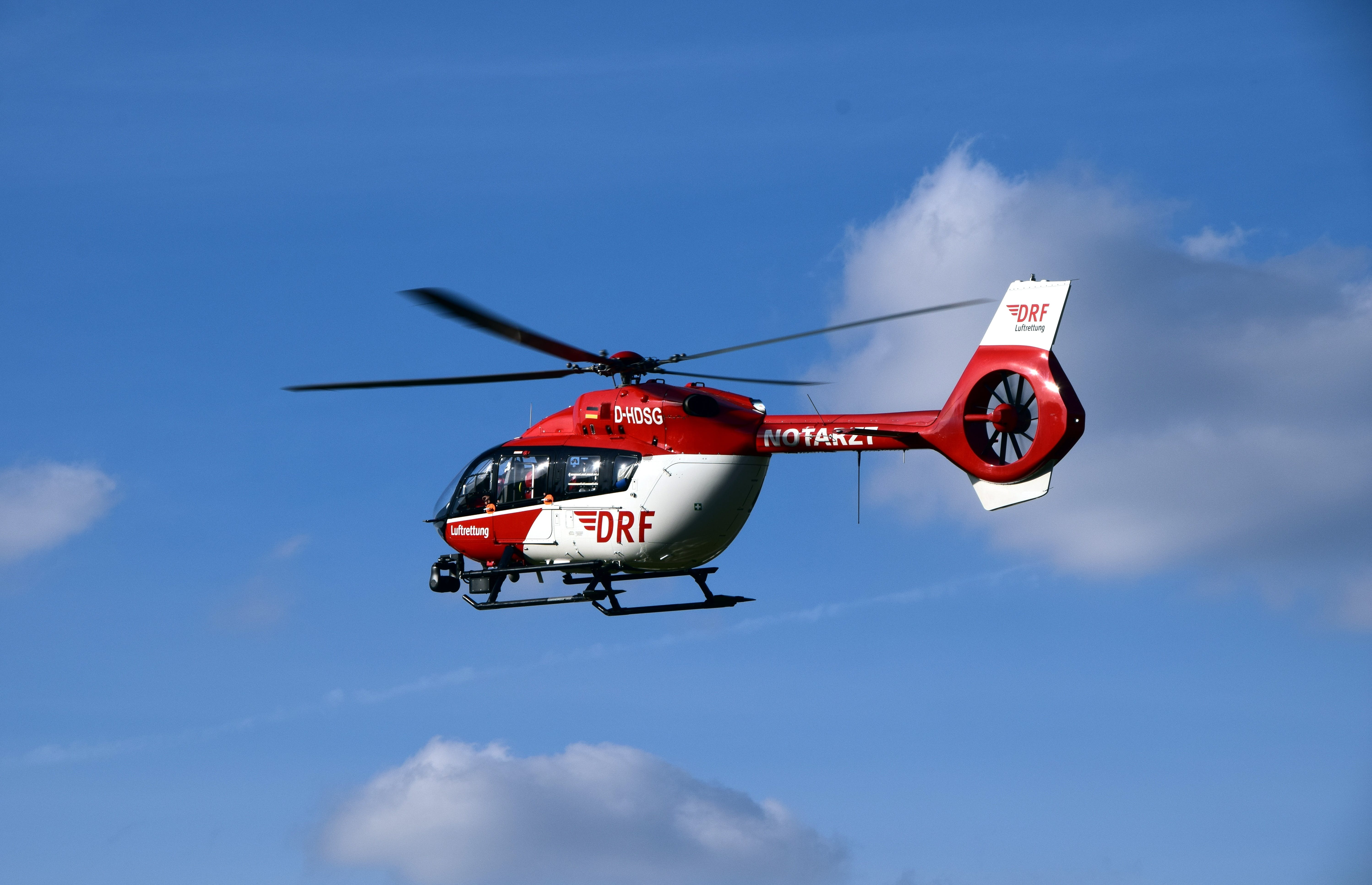 Free stock photo of sky, red, blue, helicopter