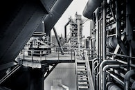 black-and-white, industry, metal