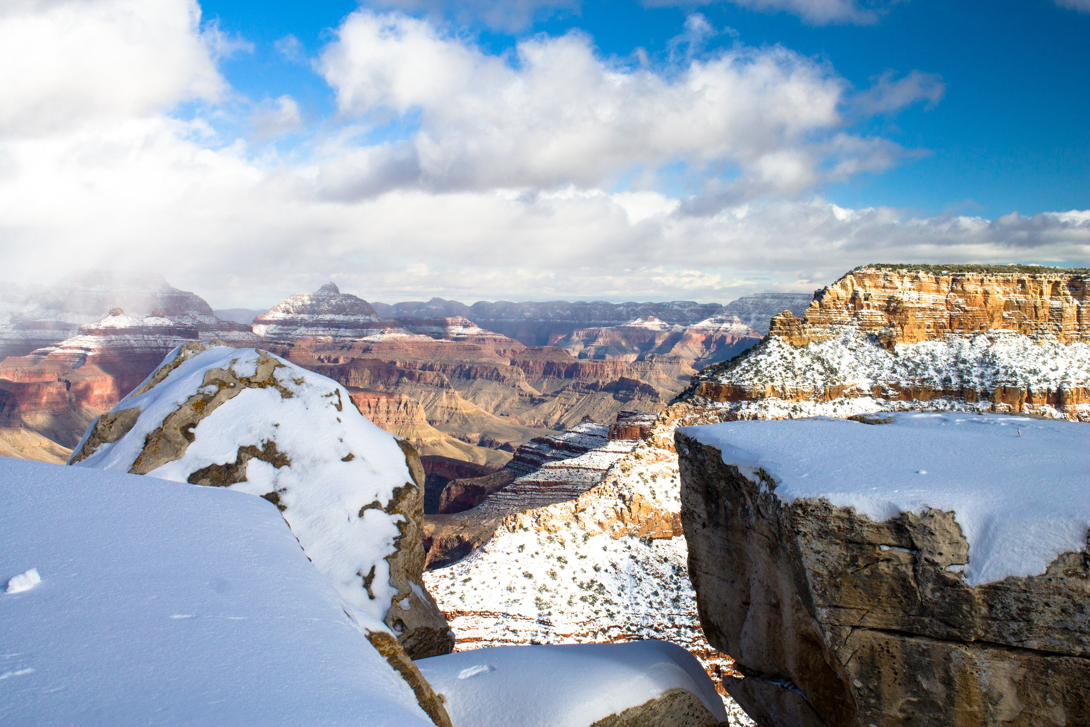 Top View of Canyon Covered With Snow