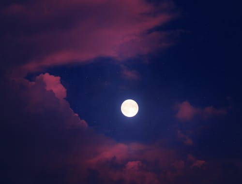 Full Moon over Dark Clouds