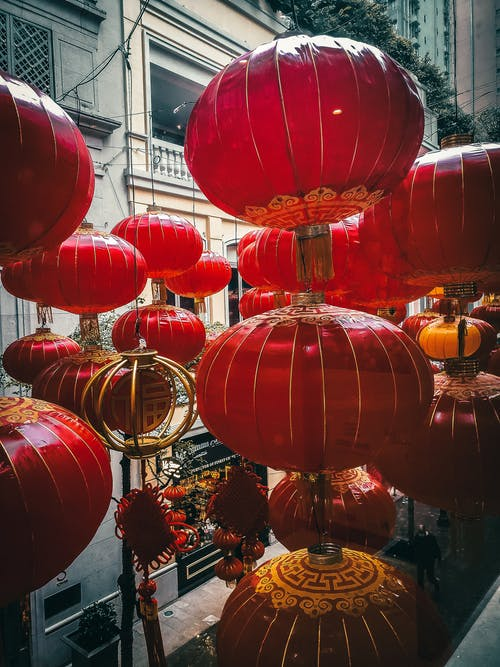 Traditional Chinese lanterns hanging on street
