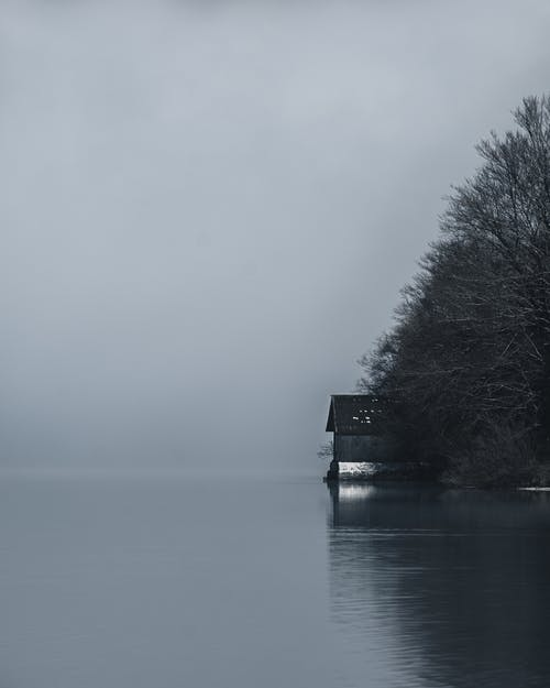 Black and white of lonely rustic house located on shore of peaceful lake near forest with leafless trees during foggy day