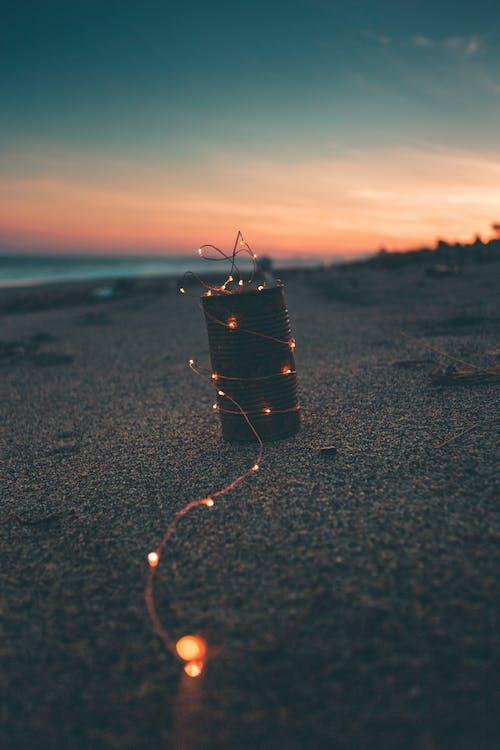 Black Fishing Net on Beach during Sunset
