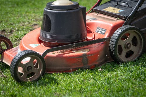Red and Black Push Lawn Mower on Green Grass