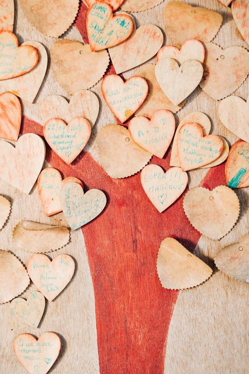 Timber hearts with wishes in collection