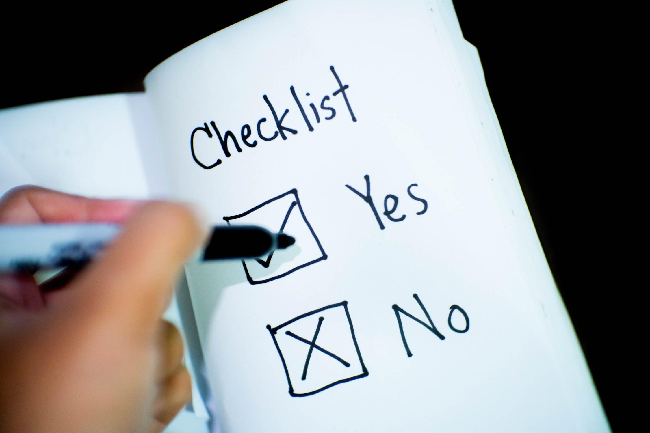 Checklist for the SMART Criteria