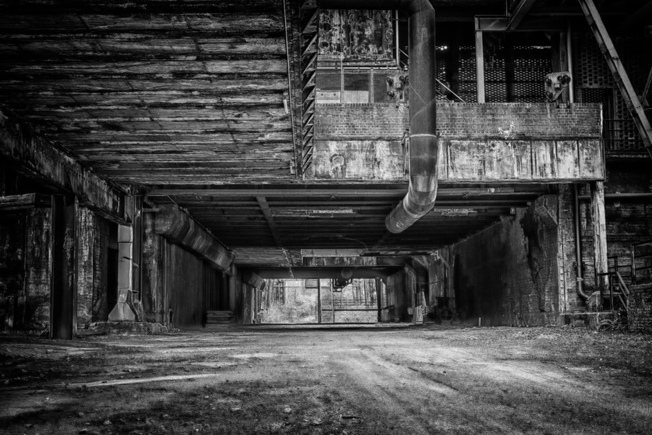 abandoned, architecture, black and white