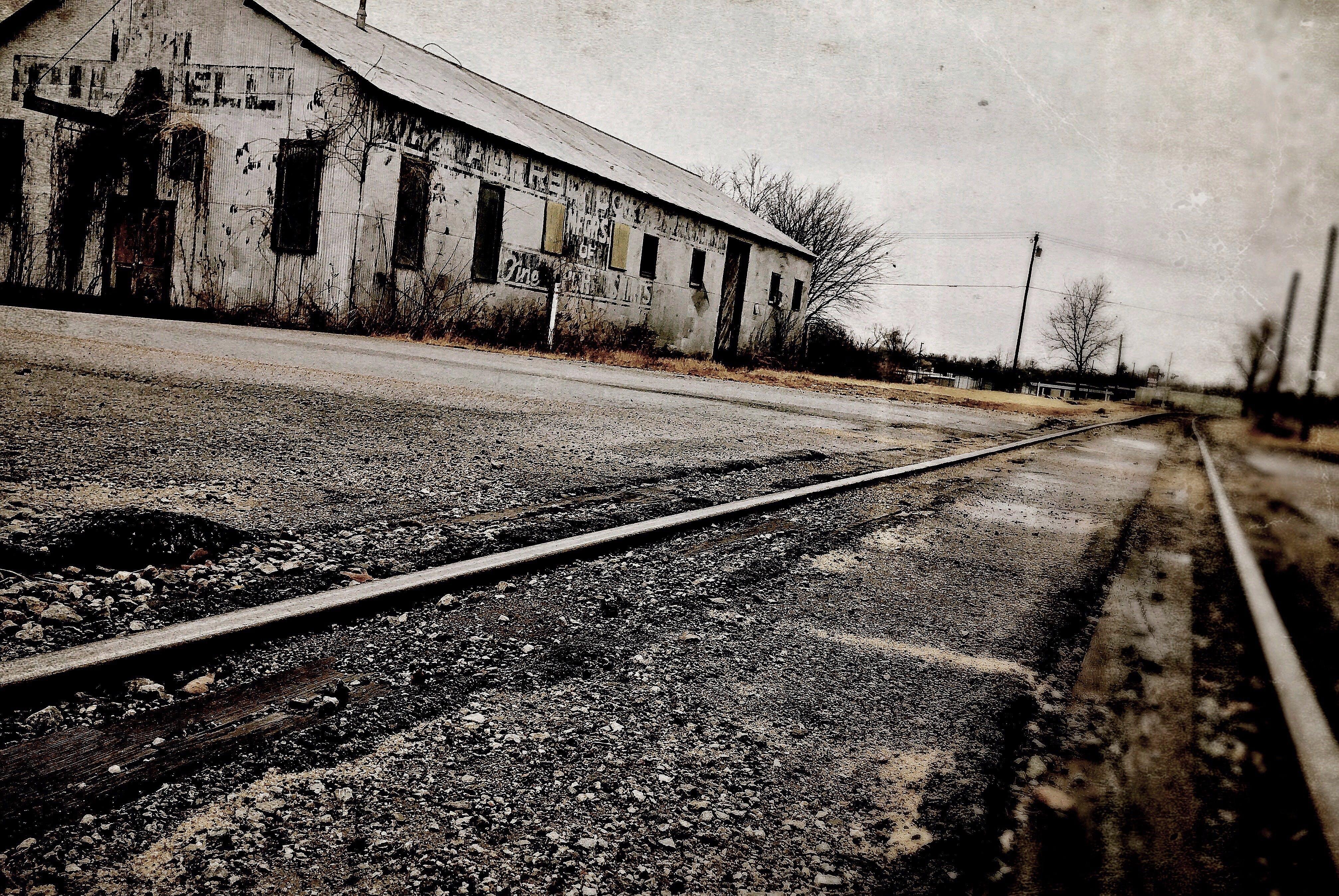 abandoned, asphalt, building