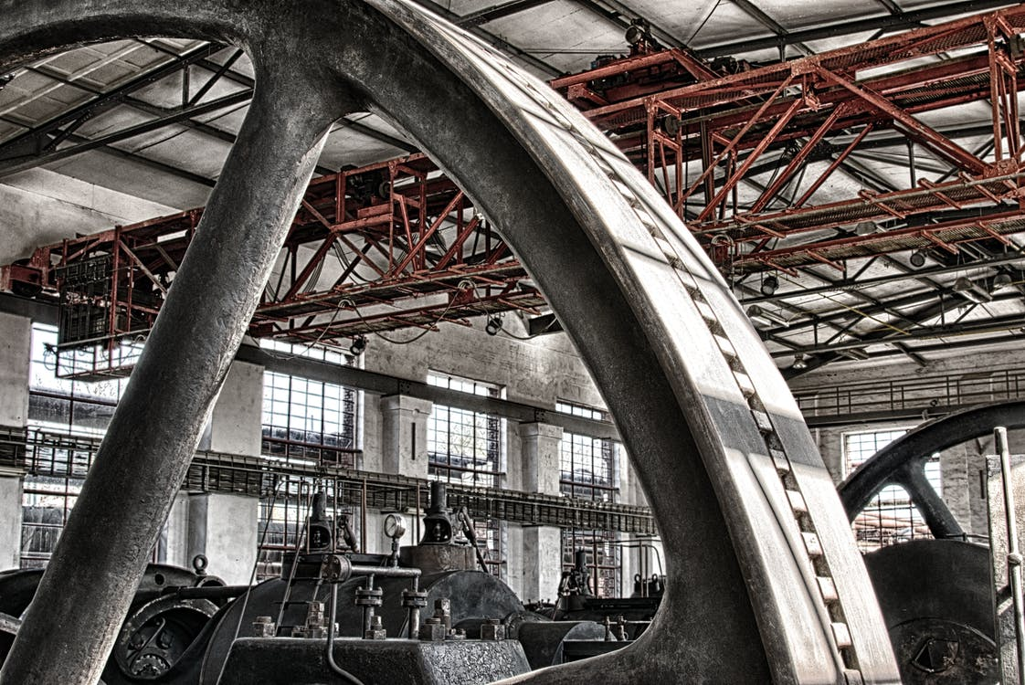 Grayscale Photography of Machine