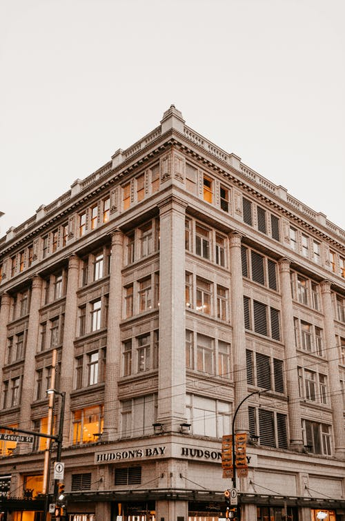 Classic building of store on street corner