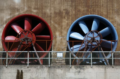 Red and Blue Industrial Exhaust Fans