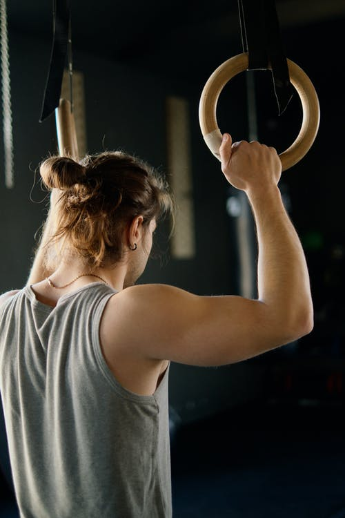 Man Holding Gymnastic Rings