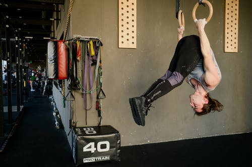 Upside Down Man Exercising on Gymnastic Rings