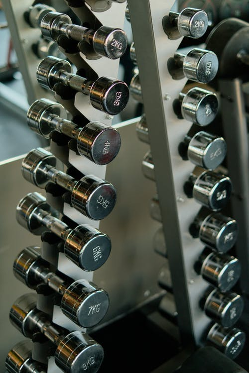 Silver Dumbbells on Rack