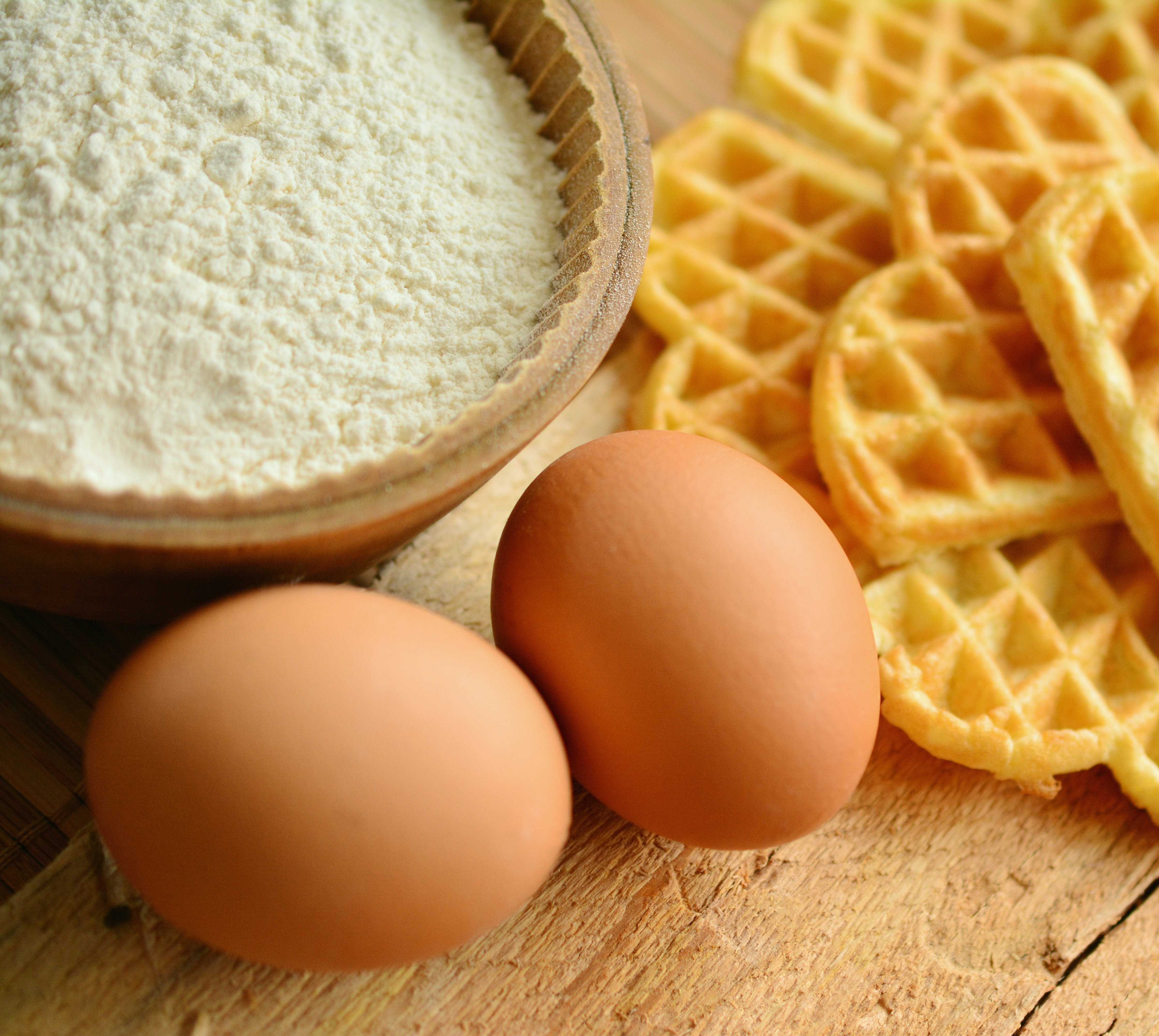 Organic Eggs and Waffle