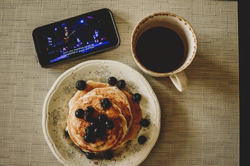 Free stock photo of black coffee, breakfast, pancakes, stay home