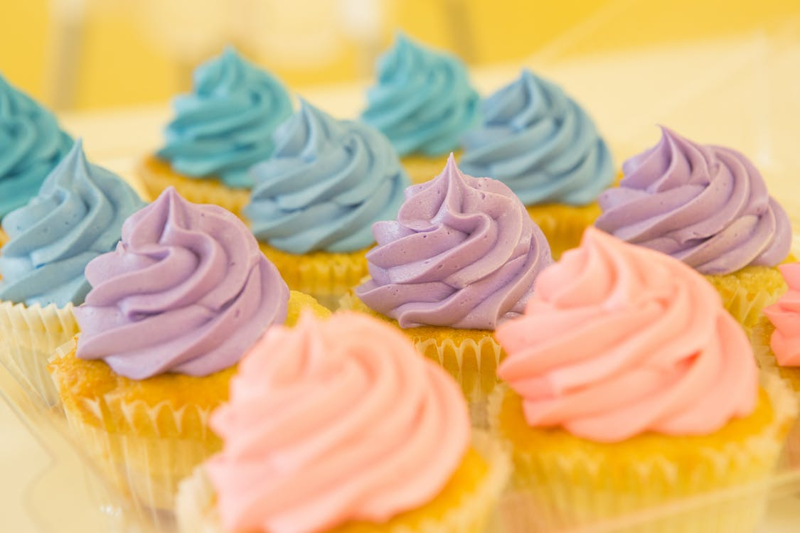Blue, Purple, and Pink Cupcakes