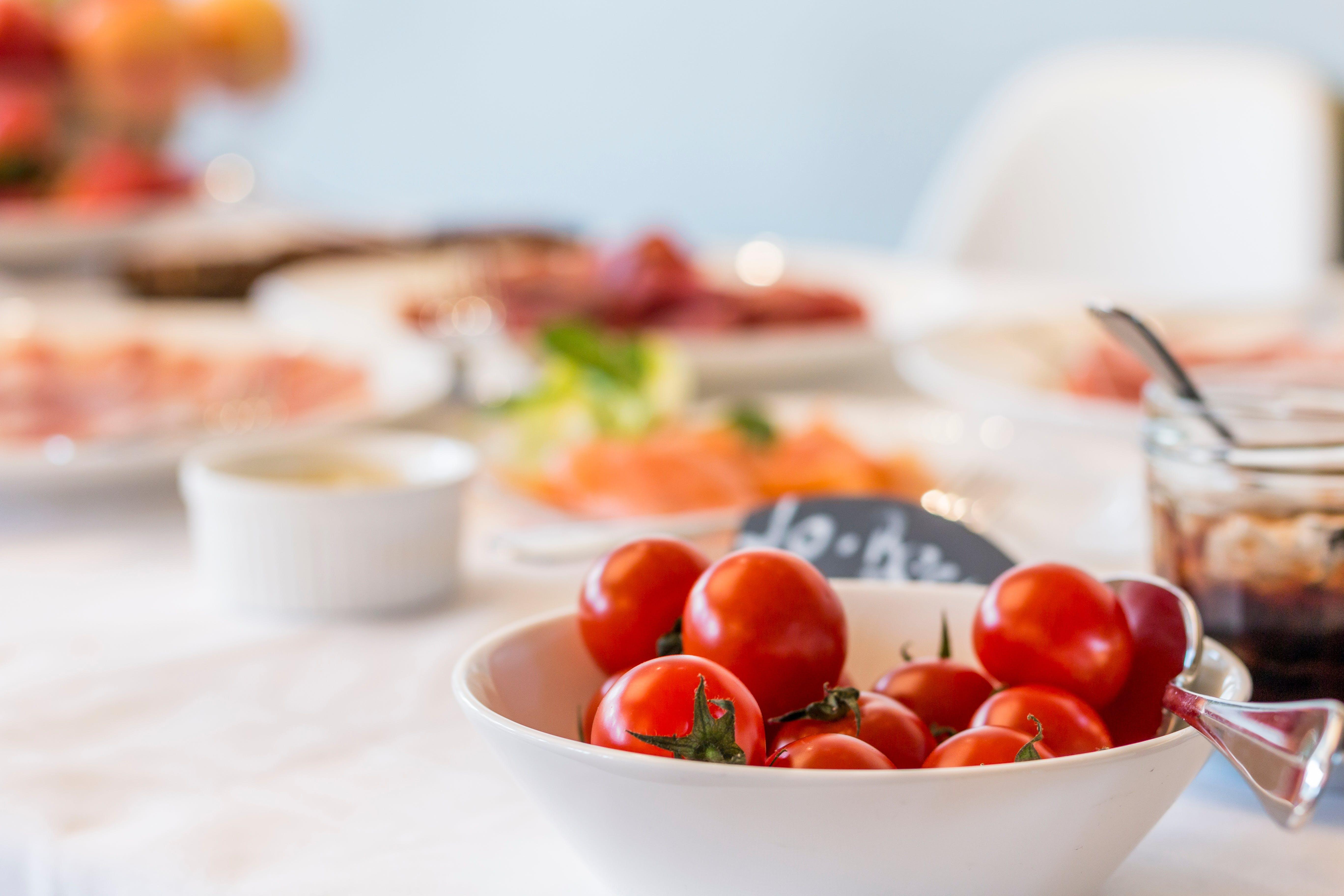 Tomatoes on White Bowl