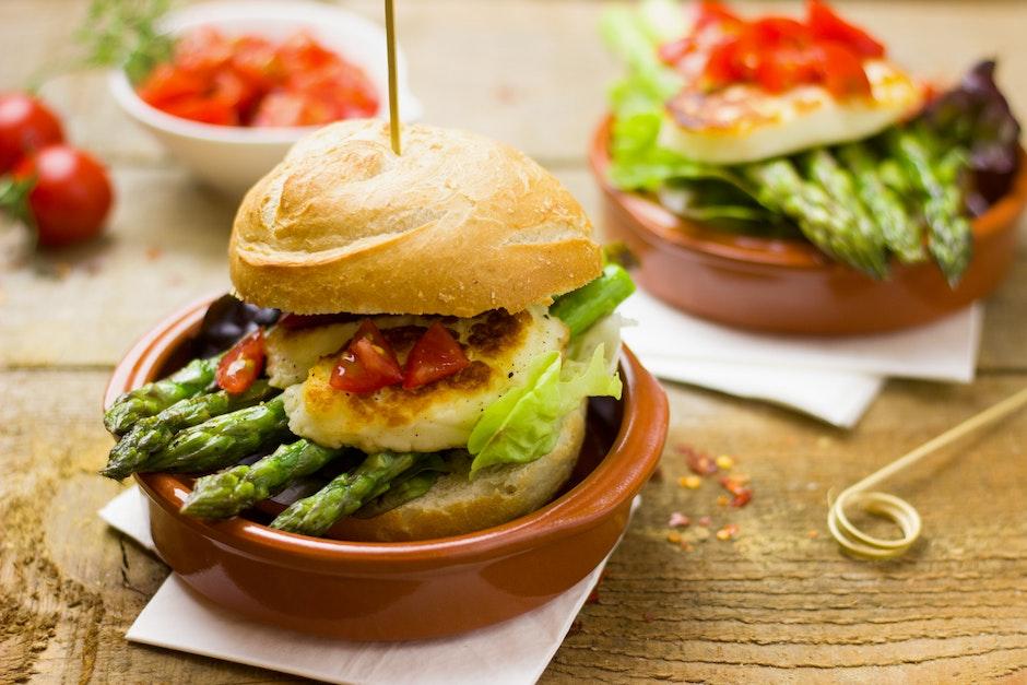 asparagus, bread, burger