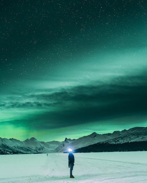 Unrecognizable man enjoying Aurora Borealis in snowy terrain