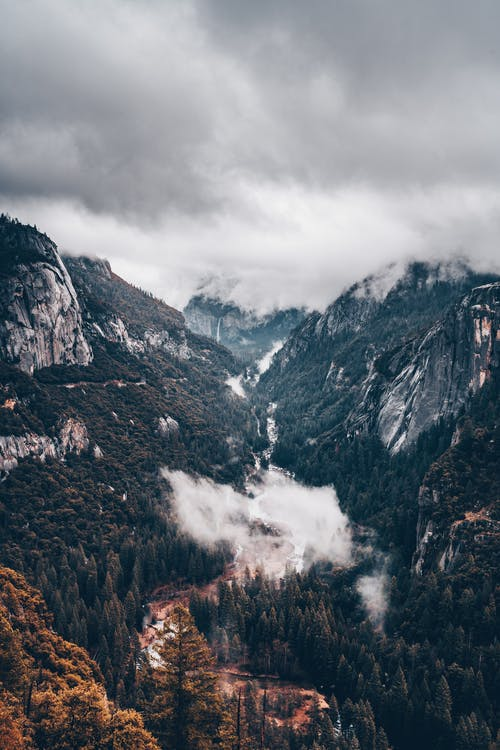 Cloudy sky over mountainous terrain and forest
