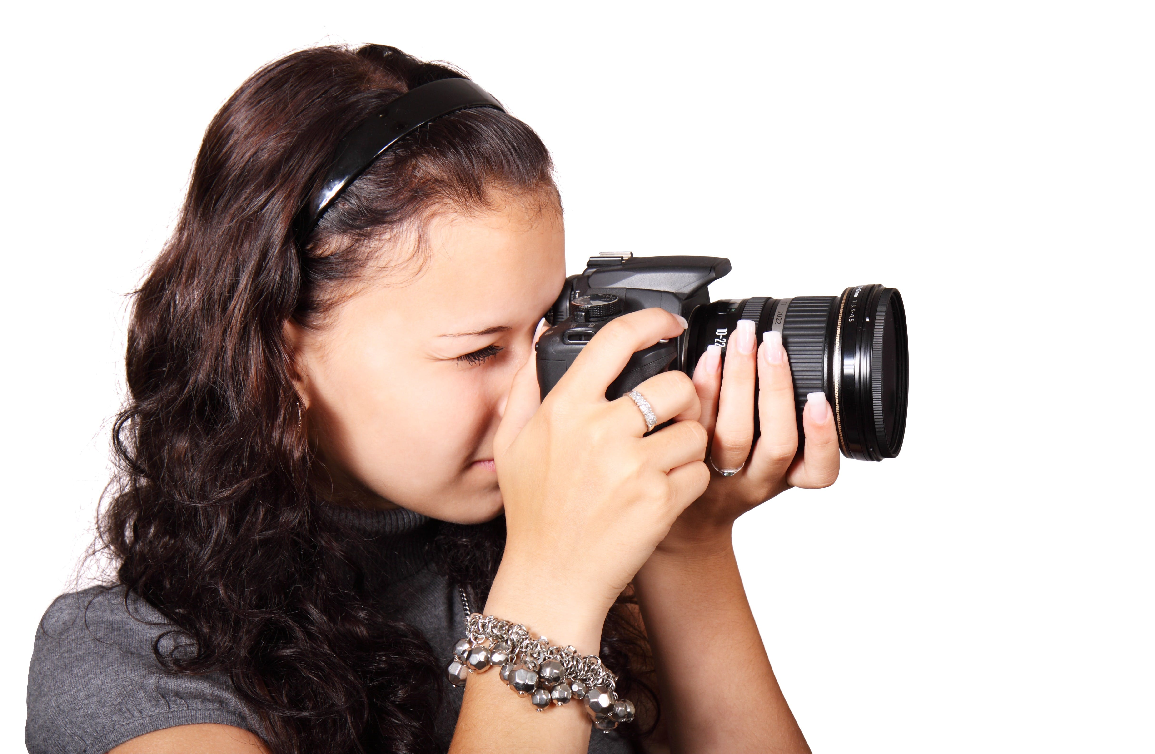 Woman Taking Picture With Her Black Dslr Camera