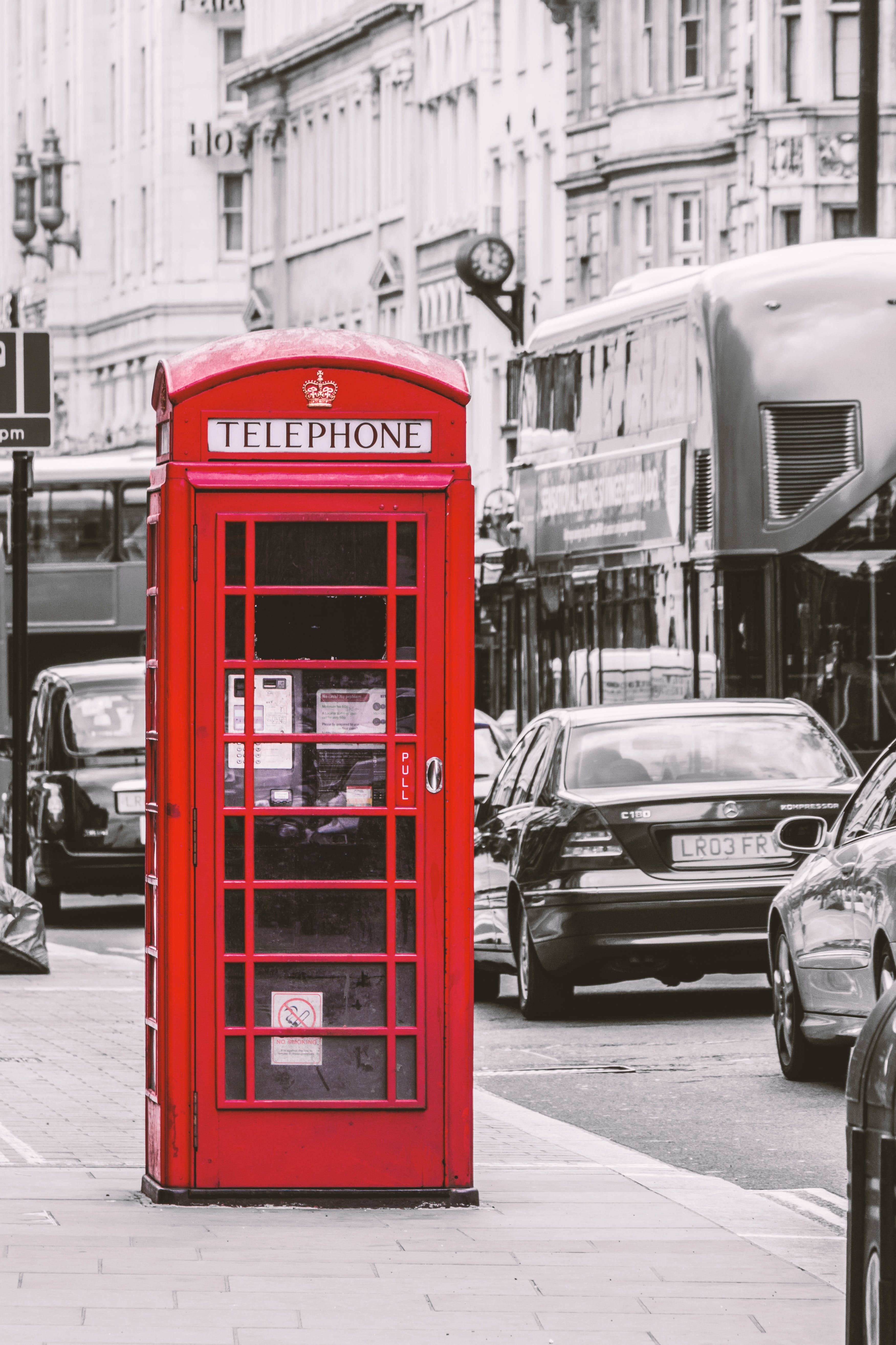 Selective Color Photography of Telephone Booth