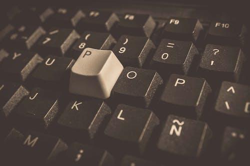 Foto d'estoc gratuïta de blanc i negre, claus, comunicació, escriure a l'ordinador