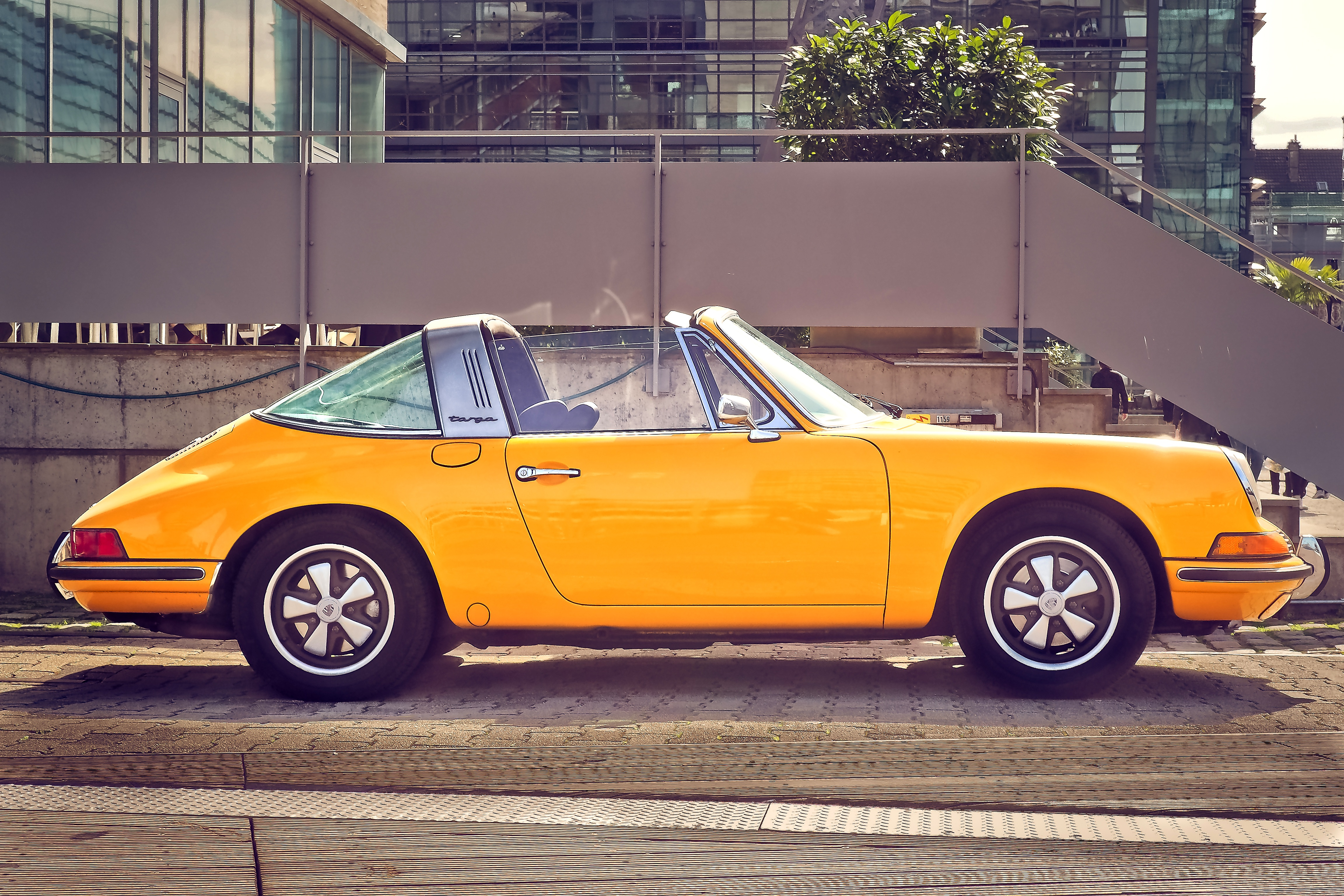 Yellow Convertible Car
