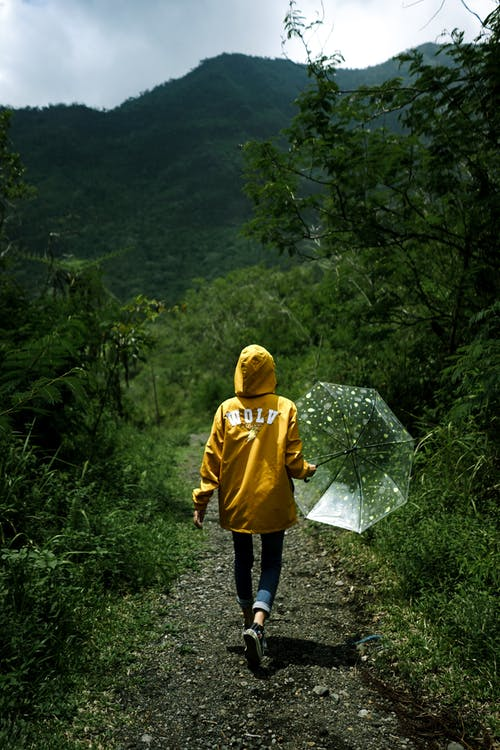 Unrecognizable traveler with umbrella walking on pathway near mountains
