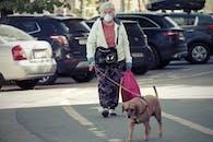 Elderly Woman Walking Dog